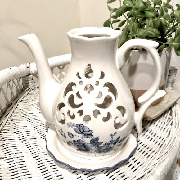 Vintage Candle Holder Ceramic White Blue Floral